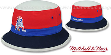 Patriots 'COLOR-BLOCK BUCKET' Red-Royal-Navy Hat by Mitchell and Ness