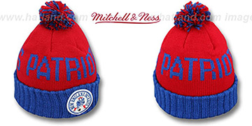 Patriots 'CUFF BEANIE' Red-Royal Knit Hat by Mitchell and Ness