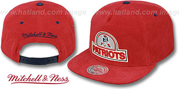Patriots 'FELT-PATCH CORD SNAPBACK' Red Hat by Mitchell and Ness