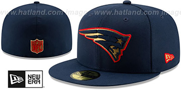 Patriots GOLD METALLIC STOPPER Navy Fitted Hat by New Era