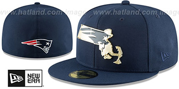 Patriots GOLD STATED METAL-BADGE Navy Fitted Hat by New Era