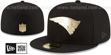 Patriots 'GOLDEN-BADGE' Black Fitted Hat by New Era