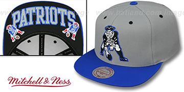 Patriots 'GREYTONE SNAPBACK' Grey-Royal Hat by Mitchell and Ness