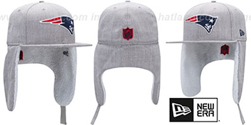 Patriots HEATHER-DOGEAR Light Grey Fitted Hat by New Era