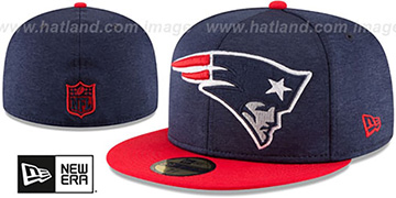 Patriots HEATHER-HUGE Navy-Red Fitted Hat by New Era