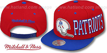 Patriots HELMET-WORDWRAP SNAPBACK Red-Royal Hat by Mitchell and Ness
