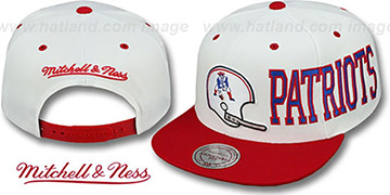 Patriots HELMET-WORDWRAP SNAPBACK White-Red Hat by Mitchell and Ness