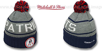 Patriots 'HIGH-5 CIRCLE BEANIE' Grey-Navy by Mitchell and Ness