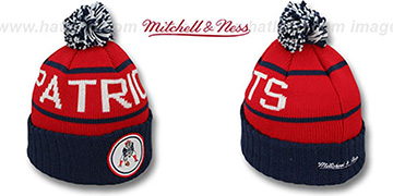 Patriots 'HIGH-5 CIRCLE BEANIE' Red-Navy by Mitchell and Ness