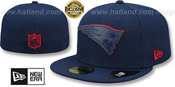 Patriots 'LEATHER POP' Navy Fitted Hat by New Era