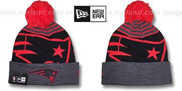 Patriots LOGO WHIZ Black-Charcoal Knit Beanie Hat by New Era