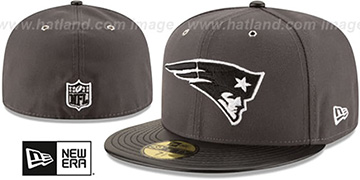 Patriots METAL HOOK Grey-Black Fitted Hat by New Era