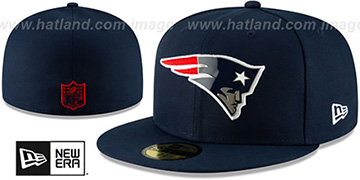 Patriots METAL-N-THREAD Navy Fitted Hat by New Era