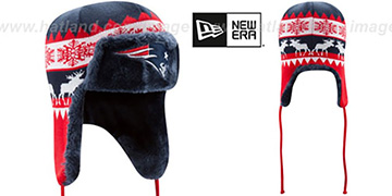 Patriots 'MOOSER TRAPPER' Navy-Red Knit Hat by New Era