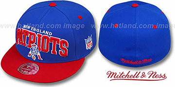 Patriots NFL 2T ARCH TEAM-LOGO Royal-Red Fitted Hat by Mitchell & Ness