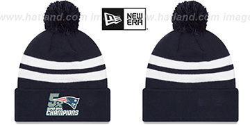 Patriots NFL 5X SUPER BOWL CHAMPIONS  Navy-White Knit Beanie Hat by New Era