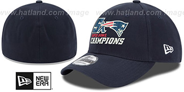 Patriots NFL 5X SUPER BOWL CHAMPS FLEX Navy Hat by New Era