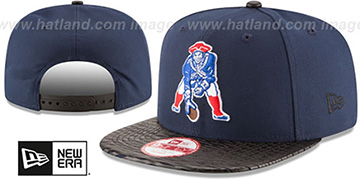 Patriots NFL THROWBACK LEATHER-RIP SNAPBACK Navy-Black Hat by New Era
