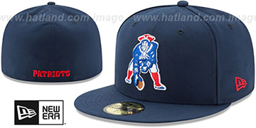 Patriots NFL THROWBACK TEAM-BASIC Navy Fitted Hat by New Era