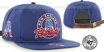 Patriots 'NFL THROWBACK VIRAPIN STRAPBACK' Royal Hat by Twins 47 Brand