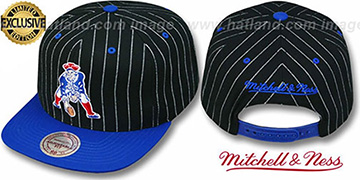 Patriots 'PINSTRIPE 2T TEAM-BASIC SNAPBACK' Black-Royal Adjustable Hat by Mitchell & Ness