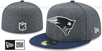 Patriots 'SHADER MELTON' Grey-Navy Fitted Hat by New Era