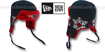 Patriots 'SNOWFLAKE TRAPPER' Navy-Red Knit Hat by New Era