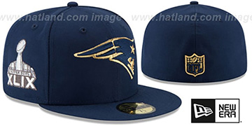Patriots 'SUPER BOWL XLIX GOLD-50' Navy Fitted Hat by New Era