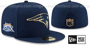 Patriots 'SUPER BOWL XXXIX GOLD-50' Navy Fitted Hat by New Era