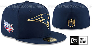 Patriots 'SUPER BOWL XXXVI GOLD-50' Navy Fitted Hat by New Era