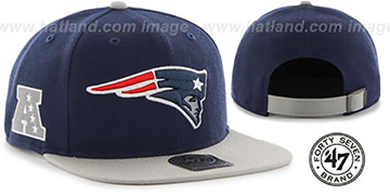 Patriots 'SUPER-SHOT STRAPBACK' Navy-Grey Hat by Twins 47 Brand
