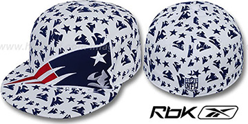 Patriots 'SUPERSIZE FLOCKING' White Fitted Hat by Reebok