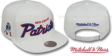 Patriots 'TEAM-SCRIPT SNAPBACK' White Hat by Mitchell & Ness