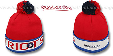 Patriots 'THE-BUTTON' Knit Beanie Hat by Michell & Ness