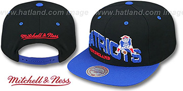 Patriots 'THE-WAVE SNAPBACK' Black-Royal Hat by Mitchell and Ness