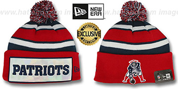 Patriots THROWBACK 'BIG-SCREEN' Knit Beanie Hat by New Era