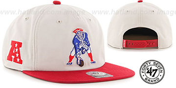 Patriots THROWBACK 'MARVIN SNAPBACK' Ivory-Red Hat by Twins 47 Brand