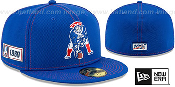 Patriots 'THROWBACK ONFIELD SIDELINE ROAD' Royal Fitted Hat by New Era