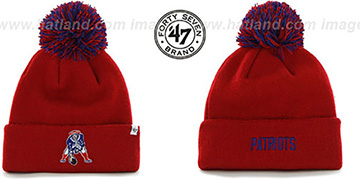 Patriots 'THROWBACK POMPOM CUFF' Red Knit Beanie Hat by Twins 47 Brand