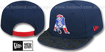 Patriots THROWBACK RUBBER MATTE SNAPBACK Navy Hat by New Era