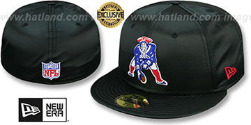 Patriots THROWBACK SATIN BASIC Black Fitted Hat by New Era