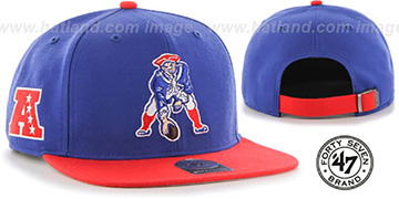 Patriots 'THROWBACK SUPER-SHOT STRAPBACK' Royal-Red Hat by Twins 47 Brand