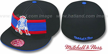 Patriots THROWBACK TIMEOUT Black Fitted Hat by Mitchell & Ness