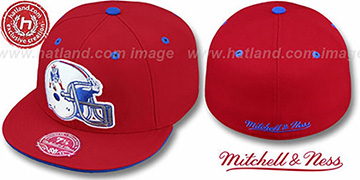 Patriots 'XL-HELMET' Red Fitted Hat by Mitchell & Ness
