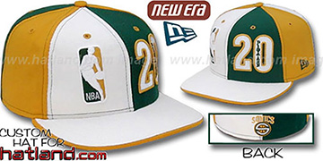 Payton 'DOUBLE WHAMMY' White-Green-Gold Fitted Hat
