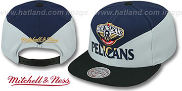 Pelicans 'AMPLIFY DIAMOND SNAPBACK' Navy-Grey Hat by Mitchell and Ness