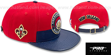 Pelicans 'HORIZON STRAPBACK' Red-Navy Hat by Pro Standard