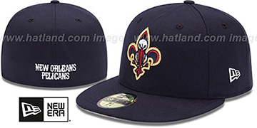 Pelicans INAUGURAL FLEUR-DE-LIS Navy Fitted Hat by New Era