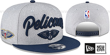Pelicans ROPE STITCH DRAFT SNAPBACK Grey-Navy Hat by New Era