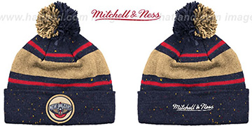 Pelicans SPECKLED Navy-Gold Knit Beanie by Mitchell and Ness